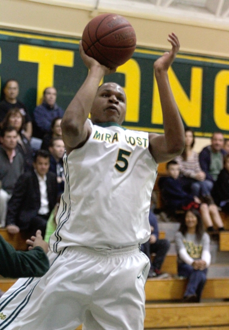 Senior Justin Strings posted a team-high 28 points to lead Mira Costa to a first-round win in the CIF Division 2AA playoffs. Photo by Ray Vidal