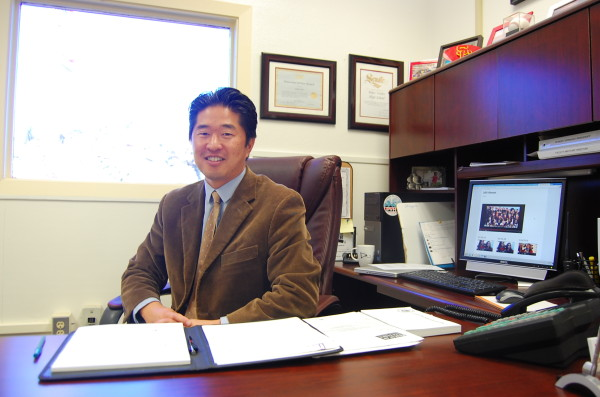 Principal Charles Park inside his office at Palos Verdes High School. Photo by Esther Kang