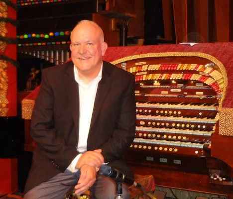 """Tony Wilson at the Mighty Wurlitzer. On Sunday he will play a """"Musical Blast from the Past"""" to benefit the Old Town Music Hall"""