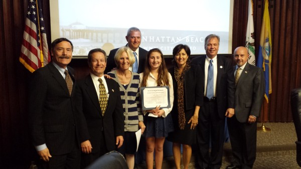 Manhattan Beach Middle School eighth grader Skylar Sload was recognized at the Feb. 3 City Council meeting with a citizenship award, presented jointly by the City of Manhattan Beach and the Manhattan Beach Unified School District. MBMS Principal John Jackson and MBPS Leadership Advisor Ro Schreiner lauded Sload for her dedication as the school board liaison and leadership in the school's ASB. Additionally, she is an active member of the Friendship Circle, plays basketball for MBMS, Manhattan Beach Youth Basketball and South Bay Elite. She is also on the Southern California PGA Junior Tour. Photo courtesy of Stephanie Sload