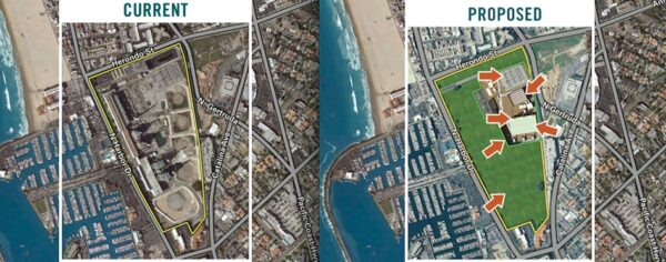 AES's images of the current and proposed power plant at 1100 North Harbor Drive in Redondo Beach.