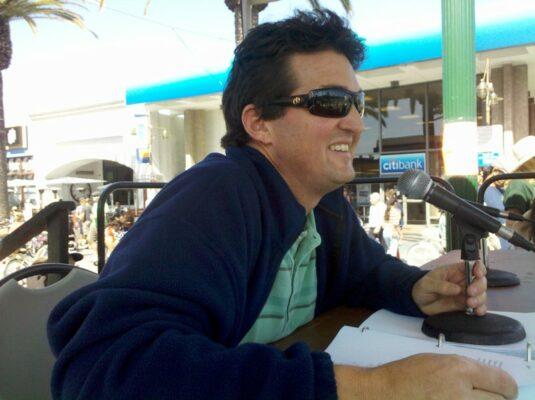 Matt Bennett, the voice of the Hermosa Beach St. Patrick's Parade. Photo by Kevin Cody