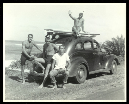 Makaha in the early '50s. John McFarlane, Bing Copeland, Rick Stoner and Mike Bright