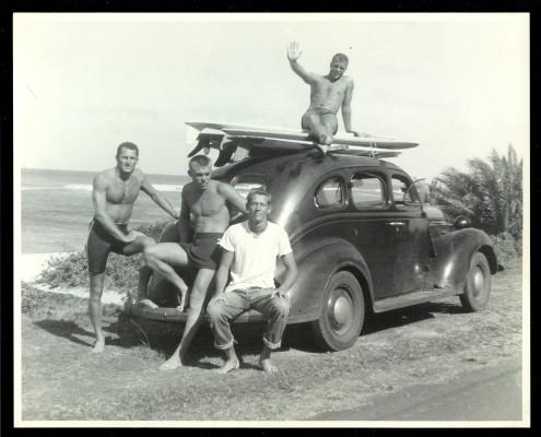 Makaha in the early '50s. John McFarlane, Bing Copeland, Rick Stoner and Mike Bright