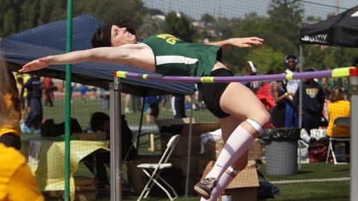 Mira Costa' senior Alison Bartak cleared 5 feet to place second in the high jump. Earlier this month, Bartak helped the Mustang's girls basketball team reach the State Regional playoffs. Photo by Ray Vidal