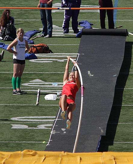 Redondo Union freshman pole vaulter broke a school clearing 12 feet at the Redondo Nike Track Festival. Photo by Ray Vidal
