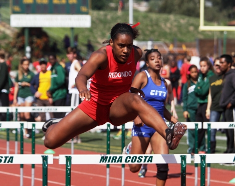 Redondo Union's Kristen Hamlin won four events, including the 100-meter hurdles, to earn the Ed Austin Female Athlete of the Meet award. Photo by Ray Vidal