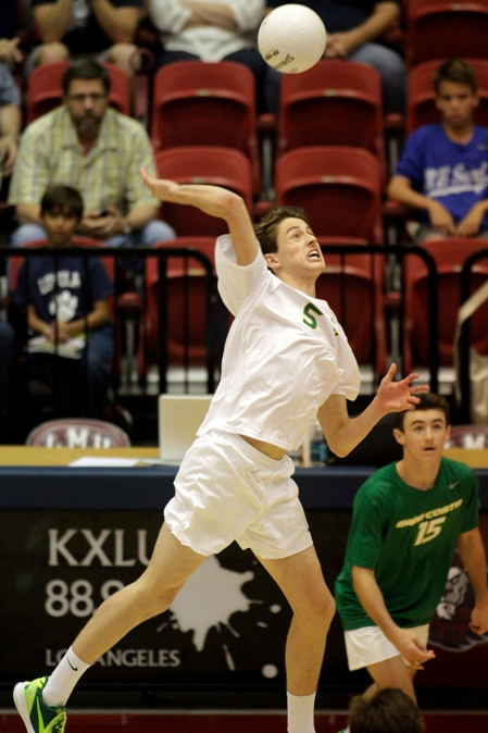 Mira Costa's Roy McFarland records one of his three kills in the Mustang's loss to Loyola. Photo by Ray Vidal