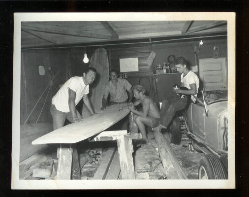 Shaping boards in Bergstrom's garage.