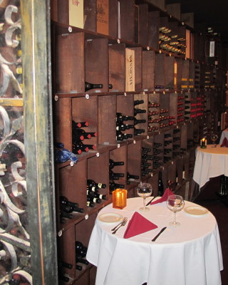 The intimate wine cellar tables at the Bottle Inn. Photo by Alyssa Morin.