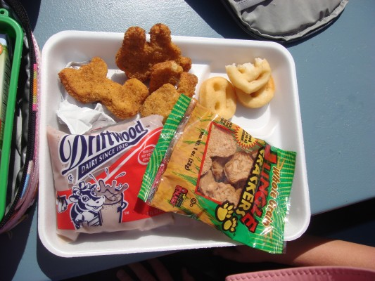 A school lunch for students at the Hermosa Beach City School District consisting of chicken nuggets, smiley-faced potatoes, choocolate milk and animal crackers. Photo courtesy of Tiffani Miller.