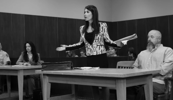 """Courtroom still from the upcoming series """"Loredana, Esq."""""""