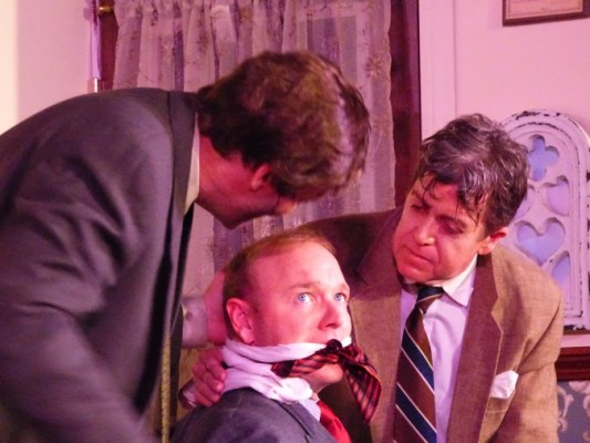 """Arsenic and Old Lace"" - from left, Jonathan Brewster (Lorin McCraley), Mortimer Brewster (James Jeffery Caldwell), and Dr. Einstein (Stephen Beal). PHOTO COURTESY OF SURF CITY THEATRE"
