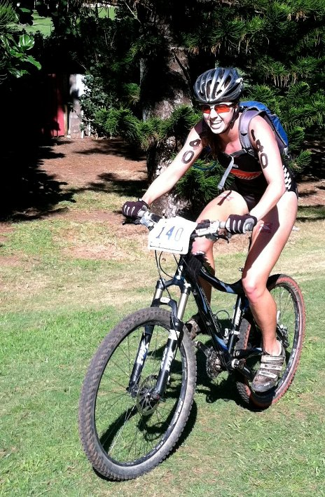 Triathlete Erin Beresini pedals her way through the bike leg at the XTERRA World Championships in Maui. Photo by Jimmy Wills