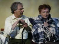"""Dennis Hattem comforts Mary-Margaret Lewis in """"The Gin Game,"""" by D.L. Coburn, directed by Danielle Ozymandias. Showtime is Friday and Saturday at 8 p.m. through May 24, plus Sunday, May 11, at 2 p.m. See it at Little Fish Theatre, 777 S. Centre St., San Pedro. Info: (310) 512-6030 or go to littlefishtheatre.org. PHOTO COURTESY OF MICKEY ELLIOT"""