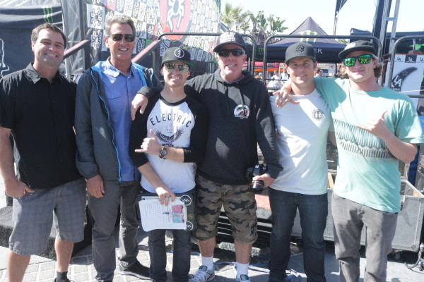Greg Browning, LA Awards California Icon Ted Robinson, Jani Lange, LA Awards California Icon Mike Balzer, Spyder host Daryl Dickie and LA Surf Awards Breakout Surfer of the Year Alex Gray.