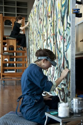 """Conservators at the J. Paul Getty Museum gently clean Jackson Pollock's """"Mural."""" Photo: ©2013 J. Paul Getty Trust"""