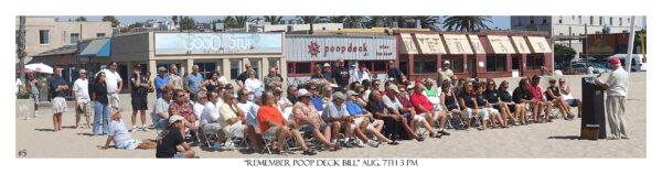 Beach memorial service for Poop Deck owner Bill Vacek in 2008. Photo by Robi Hutas