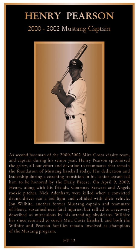 This bronze plaque will commemorate the life and continuing influence of Henry Pearson on the Mira Costa Baseball program. Photo courtesy of Thomas Tyrer