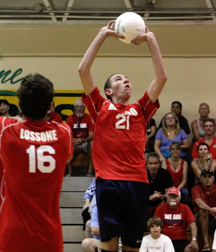 Setter Tanner Smith recorded 38 assists as Redondo clinched the Bay League title. Photo by Ray Vidal