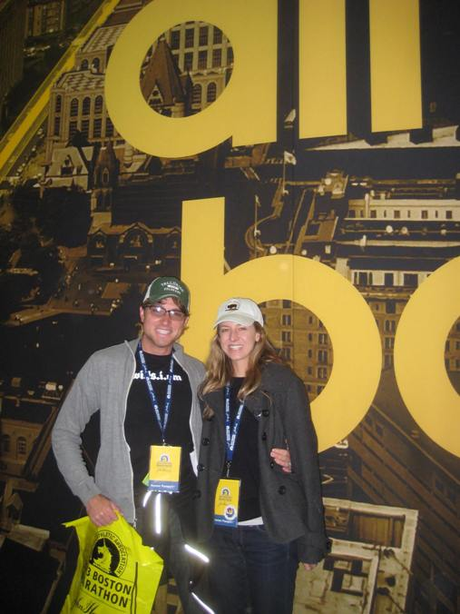 Jimmy Wills and Erin Beresini are all smiles one day before the bombings at the 2013 Boston Marathon. Photo by Annie Wills