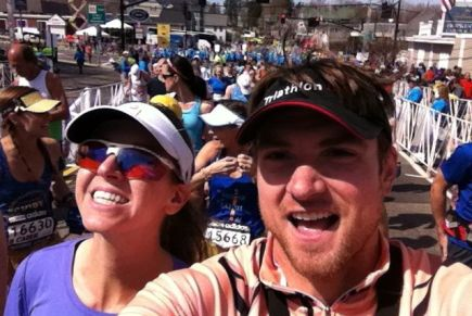 With her husband, Jimmy Wills, by her side, Erin Beresini finishes her first Boston Marathon.