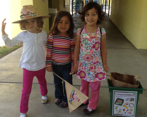 Green tots at the South Bay Family Tree Preschool. Courtesy of Kathleen Jacecko