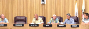 City council members look on as Mayor Aspel announces the termination of City Manager Bill Workman on Tuesday night.