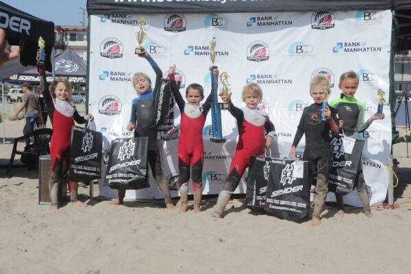 Assisted micro grom winner Kai Kushner with fellow finalists (not in order) Maclaren Allen, Stone Seligson, Griffen Fields, Winfield Gurney and Thor Kowal.