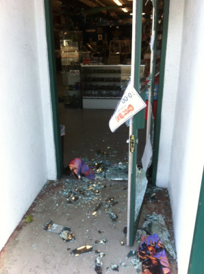 The remnants of the break-in at Comic Bug in Manhattan Beach last weekend. Photo courtesy of Mike Wellman