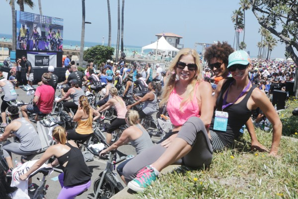 Terry Moseley of Manhattan Beach, Sukari Rodgers of Hawthorne and Jennifer Waby of El Segundo and Sukari Rodgers of Hawthorne await their turn to ride for team Heather Allman. Photos by Kevin Cody