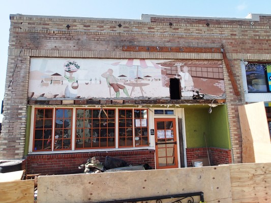 Pio's mural was uncovered Tuesday by workmen.
