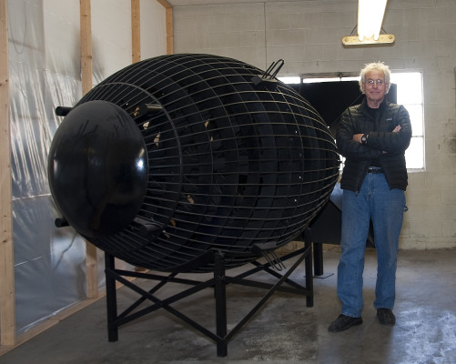 Robert Wilhite with his life-size replica of Fat Boy, the atomic bomb dropped on Nagasaki. GLORIA PLASCENCIA, CONTRIBUTING PHOTOGRAPHER