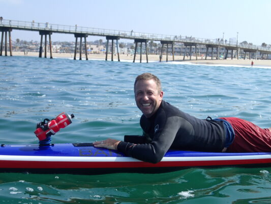 Scott Rusher, of Manhattan Beach. won the Return to the Pier unlimited prone division. Photo by Kevin Cody