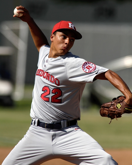 Redondo ace Cassius Hamm hurled a complete game while allowing only two runs to No. 8 Gahr. Photo by Ray Vidal