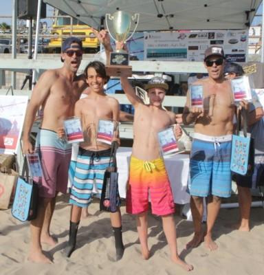 "Dig 4 Jimmy Surf N' Turf champions Jeff Bowers, Ethan Ward, Sebastian ""Seabass"" Kuhr and John Ward."