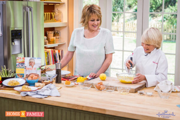 Chef Jack Witherspoon prepares his spaghetti carbonara last week with host Christina Ferrare on the Hallmark Channel's Home and Family show.