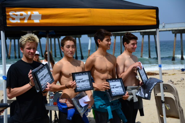 With winners' prizes donated by Spyder Surfboards, the finalist of Men's Shortboard were stoked. From left to right: Codee Stamis, Jared Boyd, Kyle Brown, and Jack Rowan.