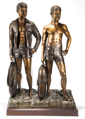 The Bob and Bill Meistrell Memorial statue was sculpted by Hermosa surfer  Chris Barela.