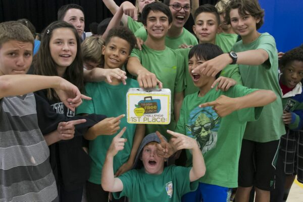 Parras students show off their lunchbox trophy. Photo by Charlie Beck.