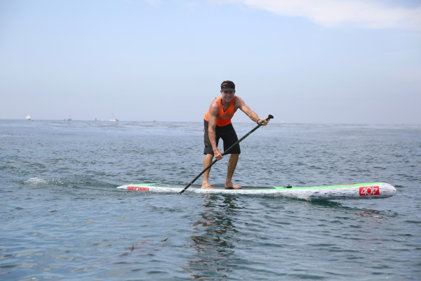 Mike Vaughan, owner of SUP Pro, finished first int heSUP division. Photo by Joel Gitelson