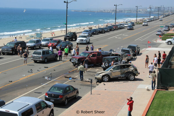 Five cars were totaled in aSunday afternoon on the Esplanade in Redondo Beach. Photo by Robert Sheer