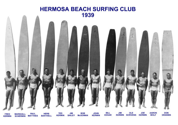 Paul Matthies (third from left) with members of the Hermosa Beach Surf Club in 1939, the year he and four fellow members paddled from Avalon to Manhattan Beach.  Photo courtesy of Scott Kerwin