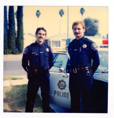 Hermosa Beach Police motorcycle officers Gary Moss and Paul Wolcott in 1982. Photo courtesty of the Hermosa Beach Police Department