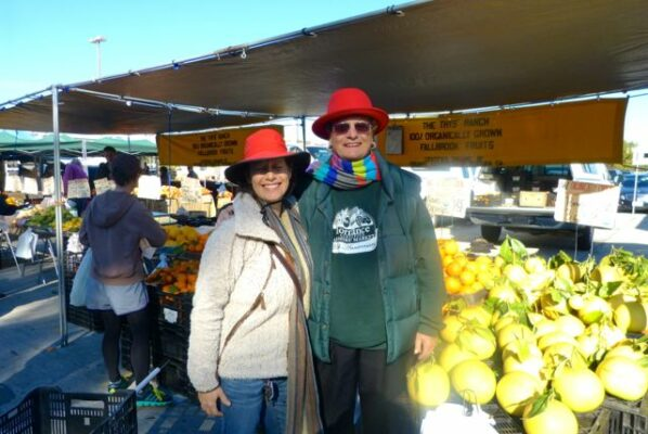 Peggy Curry and the late MaryLou Weiss at the Manhattan Beach Farmer's Market
