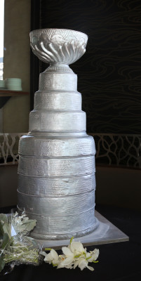 The Stanley Cup cake was three-feet tall and 130 pounds.