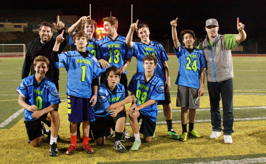 The Manhattan Beach Riptide upset the previously undefeated and top-seeded Redondo Beach Seahawks 15-14 to win the Beach Cities Sports flag football Division 13 Super Bowl on its final drive of the game. Team members include (top row, left to right) Coach Chris Laurita, Connor Carman, Dane Johnson, Jackson Cunningham, Blake Laurita, Coach Brian Bloodgood, (bottom row) Andrew Fasano, Gunnison Bloodgood, Leyton McNamara and Tommy Waller. Registration is open for the Fall Season at bcsflagfootball.com. Photo by Bianca Laurita