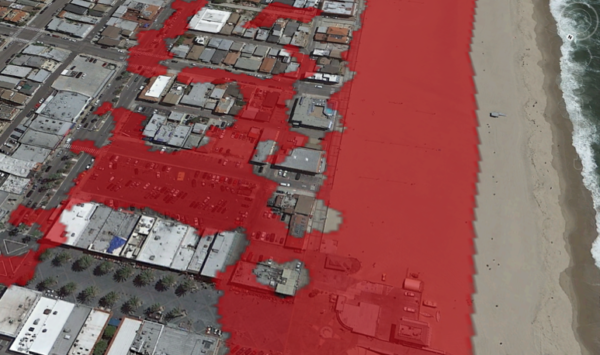 Tsunami inundation modeling shows the Hermosa Beach pier and the first block of development flooded during tsunami storm surges. Courtesy of Julie Ekstrom and Susanne Moser
