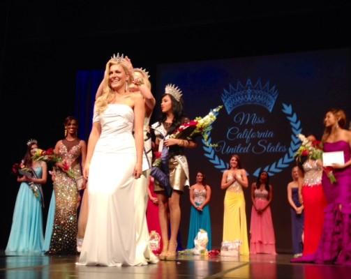 Sande Charles being crowned Ms. California last month in Santa Barbara. Photo courtesy of Sande Charles
