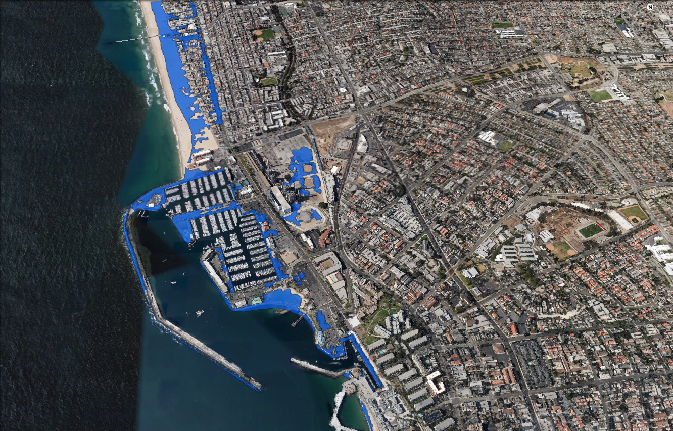 Sea level rise modeling conducted by the Pacific Institute shows many South Bay landmarks like the Hermosa Beach and Redondo Beach piers inundated during future storm surges. Courtesy of Julie Ekstrom and Susanne Moser